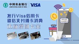 农业银行Visa指定信用卡微信支付消费达标赠刷卡金返现
